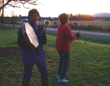 Dorothea and I drumming up the sun at Winter Solstice, 2010
