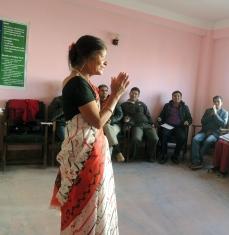 Aparna teaching Level 1 in Lalitpur