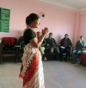 Aparna teaching Level 1 in Lalitpur